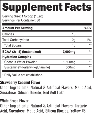 Staunch BCAA + Hydration - Label