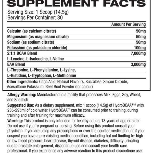 ProSupps HydroBCAA - Label