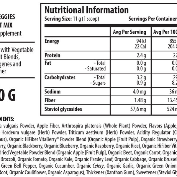 Scitec Nutrition Vita Greens & Fruit - Label