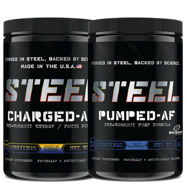 Steel Supplements AF Pre Workout Pumped AF + Charged AF Combo