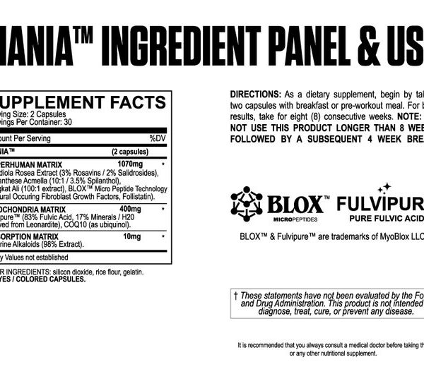 MyoBlox Mania - Testosterone Booster - Label