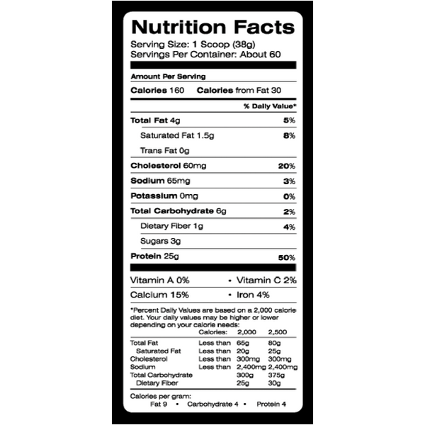 MTS Nutrition - Machine Whey - Nutrition Label