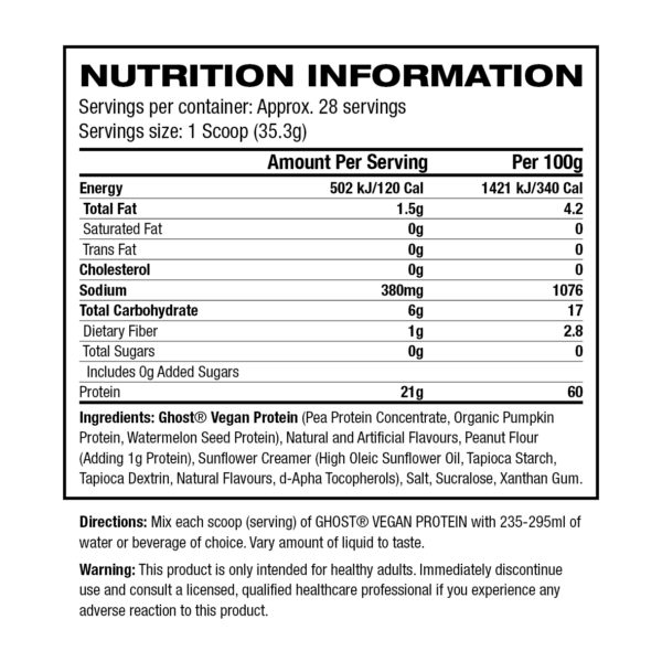 Ghost Lifestyle Ghost Vegan Protein - Label