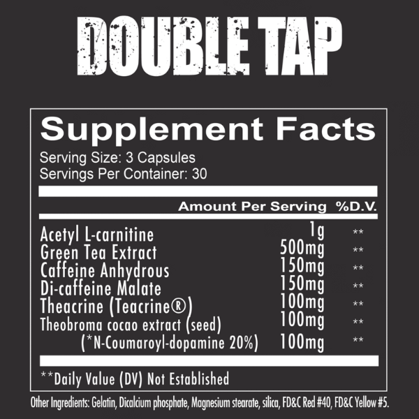 Redcon1 Doube Tap fat burner - Capsules Label