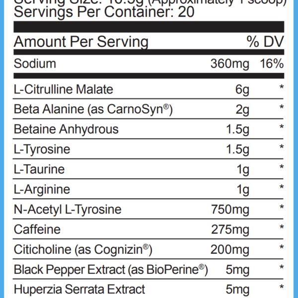 Ryse Supplements Ryse Up Pre Workout - Label