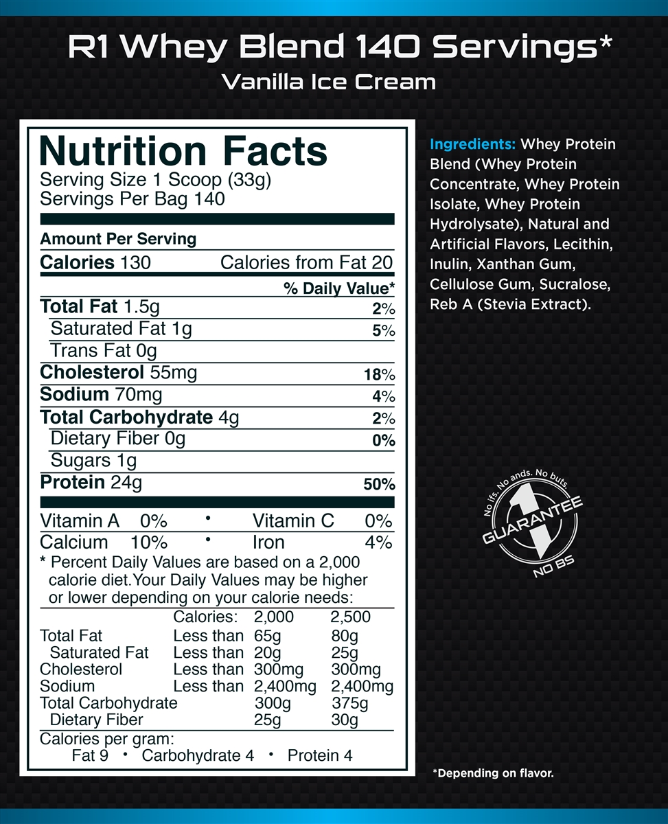 Rule 1 Proteins - R1 Whey Blend Label