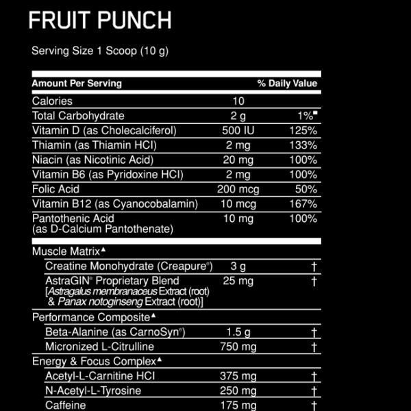 Optimum Nutrition Gold Standard Pre Workout - Label