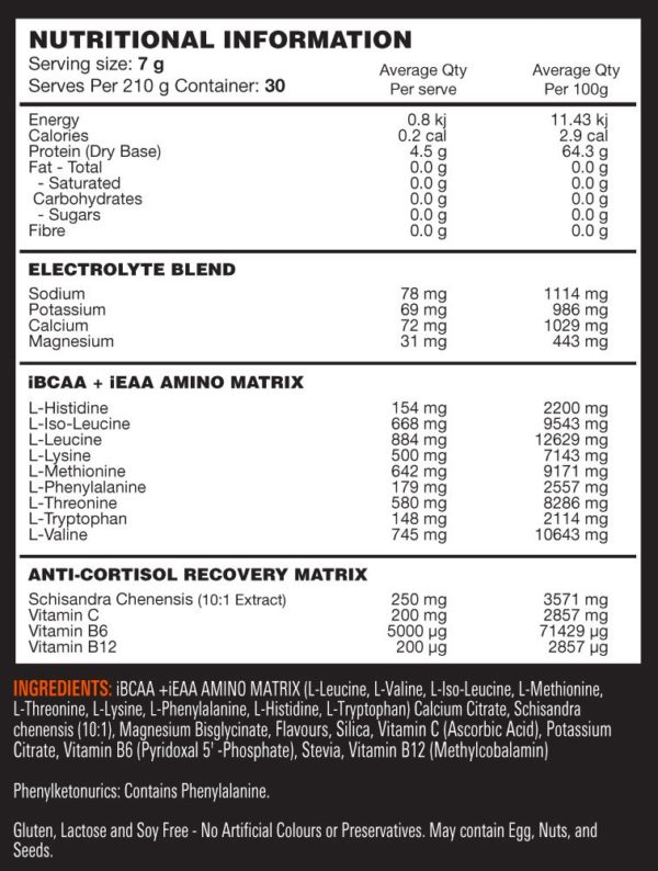 Switch Nutrition Amino Switch - Label