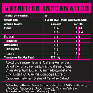 RCN Nutrition - Thermonuke Pink Ops - Label