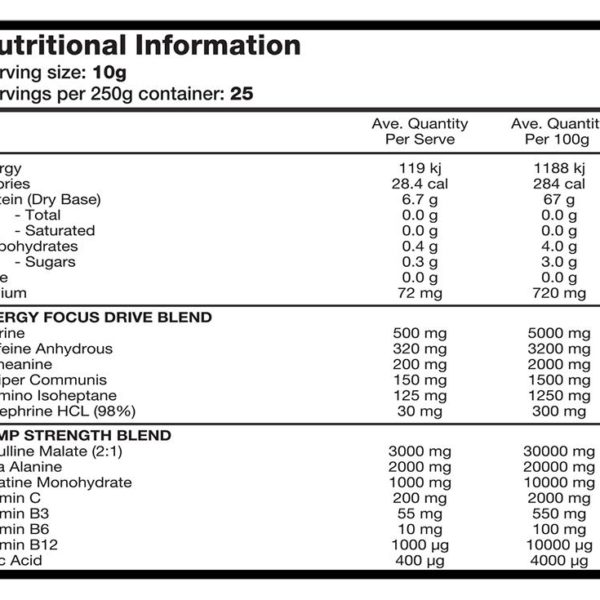 Switch Nutrition Power Switch - Label