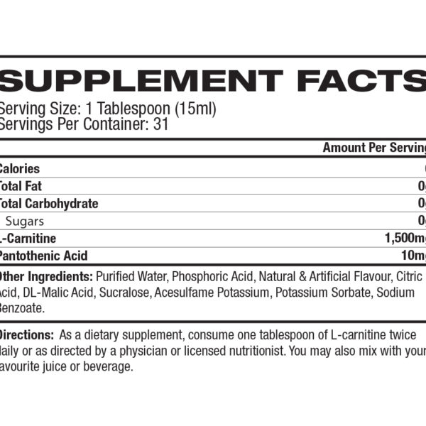 ProSupps L-Carnitine 1500 - Label