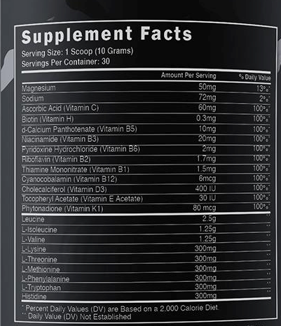Steel Supplements BCAA EAA - Label
