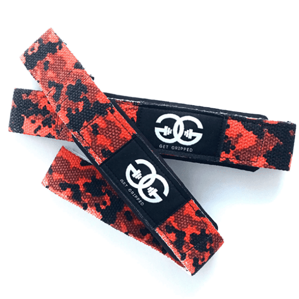 Get Gripped Single Tail Lifting Straps - Red Camo