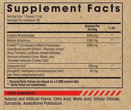 Arms Race Nutrition Vigor - Nutritional Panel