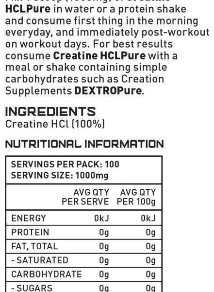 Creation Supplements Creatine HCLpure Nutrition