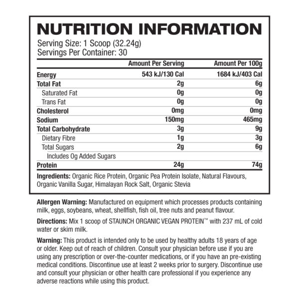 Staunch Nation Vegan Protein Nutrition