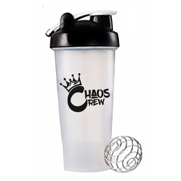 Chaos Crew 600ml Shaker - Clear _ Black