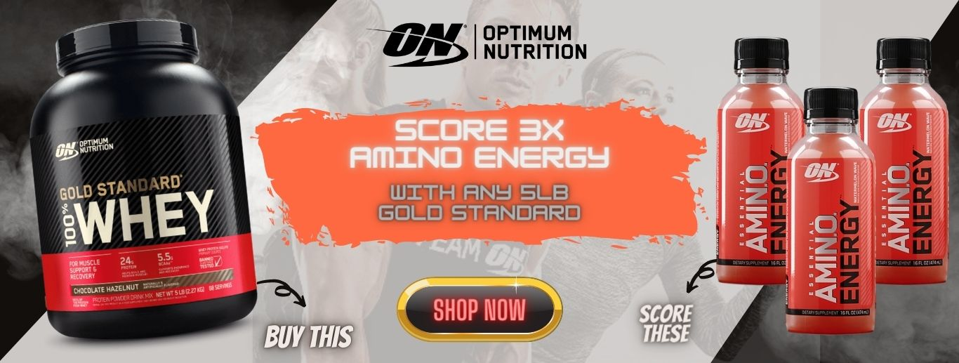 Optimum Nutrition Gold Standard Whey free amino energy banner