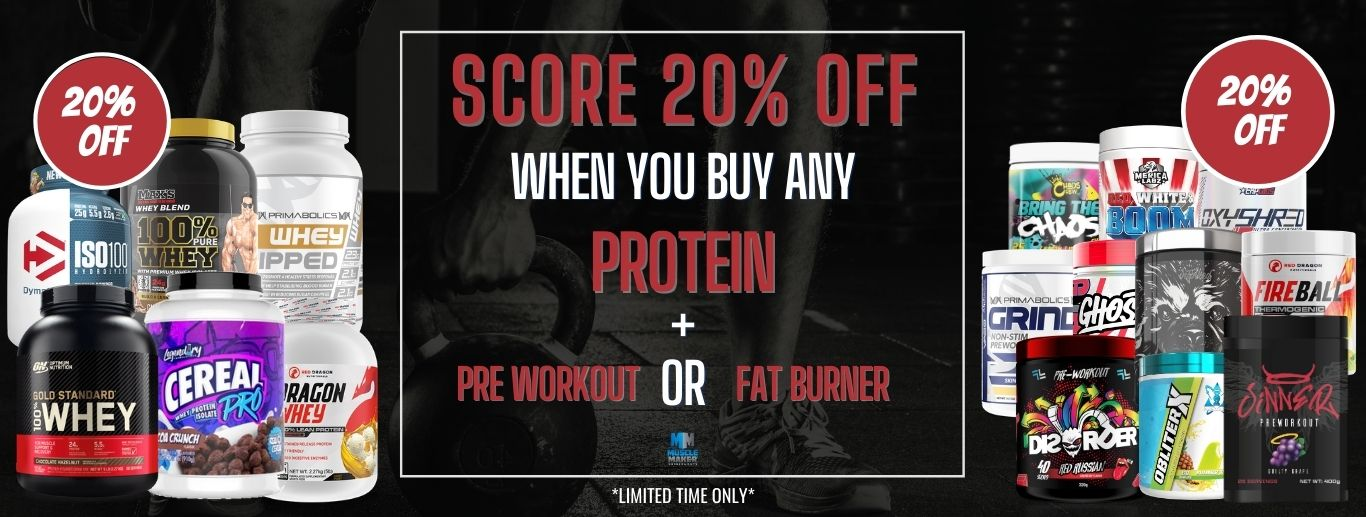 20% Off Protein pre workout or fat burner